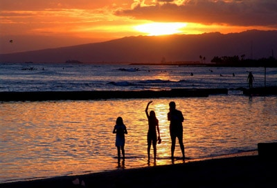 Shooting a Sunset family on the beach
