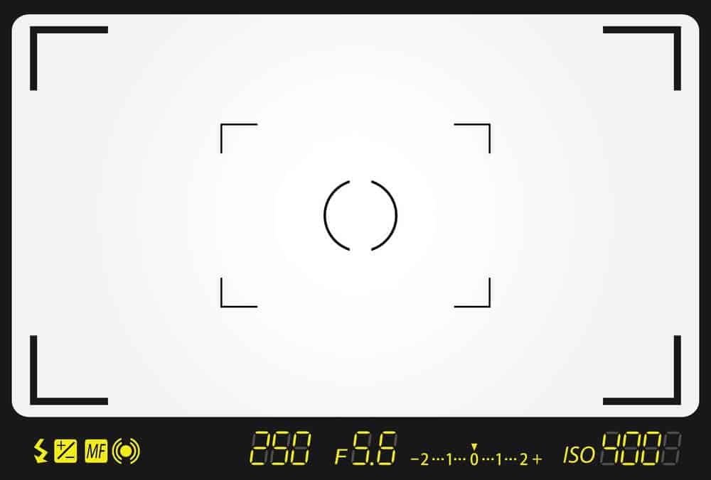 camera viewfinder showing exposure and other camera settings.