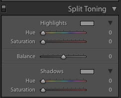 Post Production in Lightroom - split toning setting