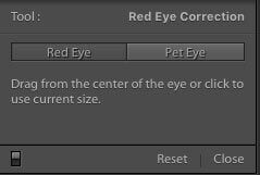 Adobe Lightroom Red eye correction tool