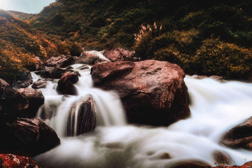 long exposure daytime waterfall