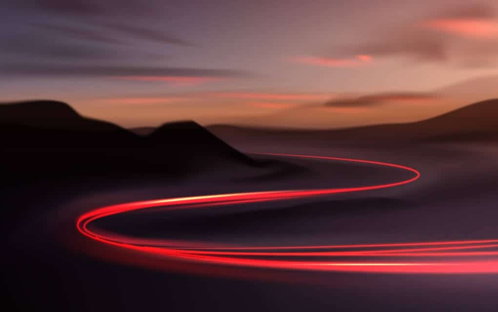 light trail showing a use of slow shutter speed and long time exposure.
